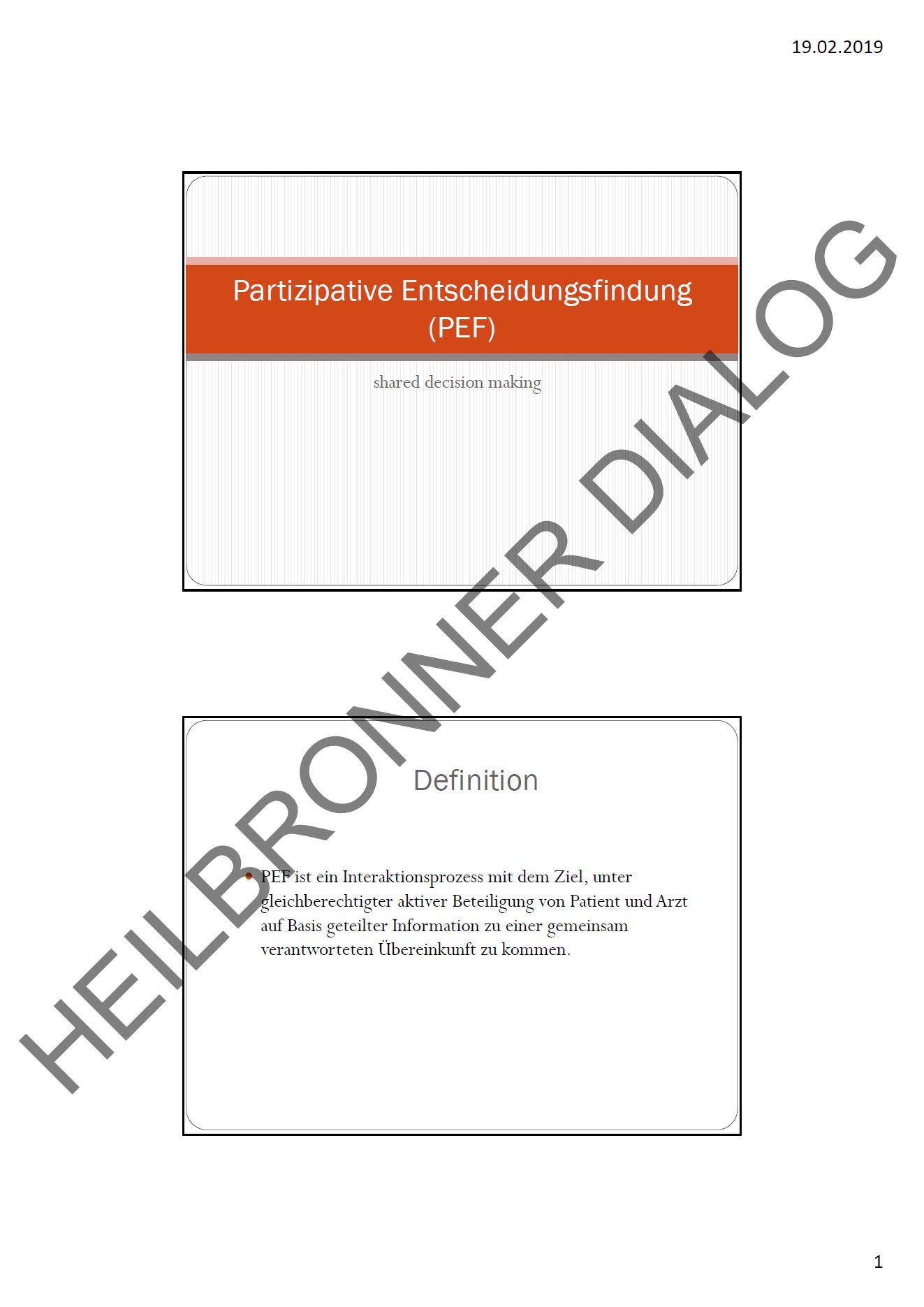 """Präsentation """"Der informierte Patient"""" vom 18.02.2019"""